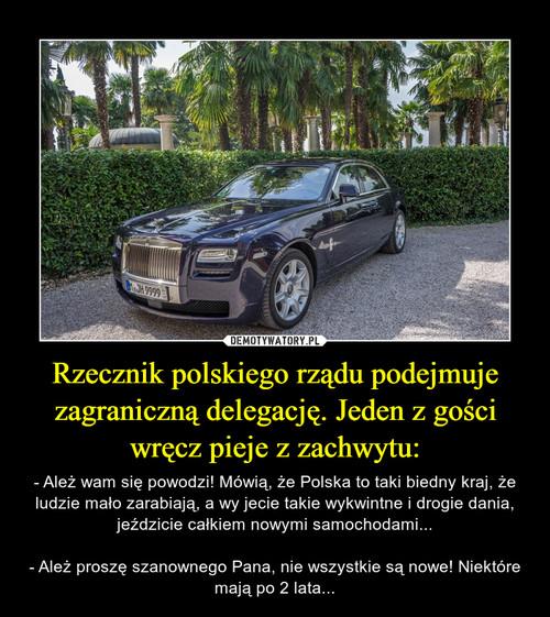 Rzecznik polskiego rządu podejmuje zagraniczną delegację. Jeden z gości wręcz pieje z zachwytu: