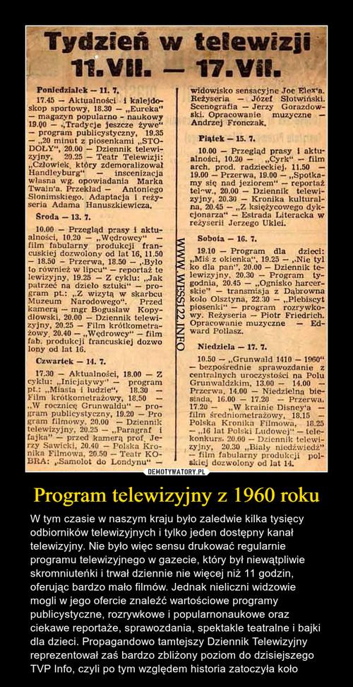 Program telewizyjny z 1960 roku