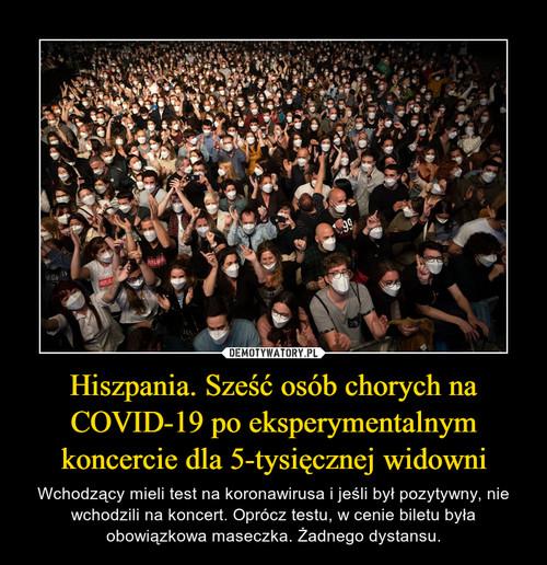 Hiszpania. Sześć osób chorych na COVID-19 po eksperymentalnym koncercie dla 5-tysięcznej widowni