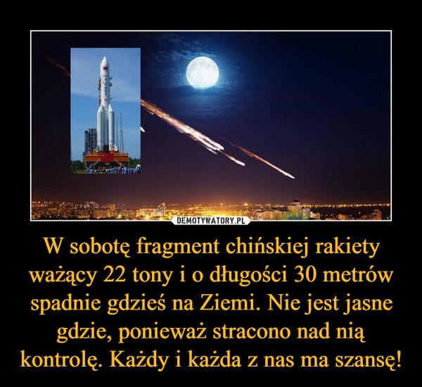 W sobotę fragment chińskiej rakiety ważący 22 tony i o długości 30 metrów spadnie gdzieś na Ziemi. Nie jest jasne gdzie, ponieważ stracono nad nią kontrolę. Każdy i każda z nas ma szansę! –