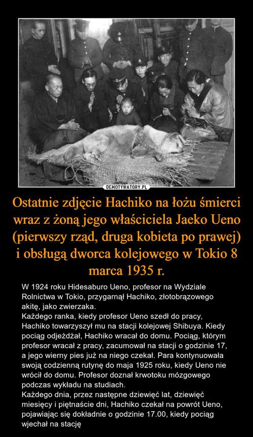 Ostatnie zdjęcie Hachiko na łożu śmierci wraz z żoną jego właściciela Jaeko Ueno (pierwszy rząd, druga kobieta po prawej) i obsługą dworca kolejowego w Tokio 8 marca 1935 r.