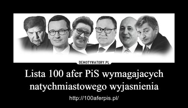 Lista 100 afer PiS wymagajacych natychmiastowego wyjasnienia – http://100aferpis.pl/