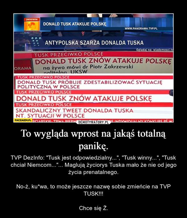 """To wygląda wprost na jakąś totalną panikę. – TVP DezInfo: """"Tusk jest odpowiedzialny..."""", """"Tusk winny..."""", """"Tusk chciał Niemcom...""""... Maglują życiorys Tuska mało że nie od jego życia prenatalnego.No-ż, ku*wa, to może jeszcze nazwę sobie zmieńcie na TVP TUSK!!!Chce się Ż."""