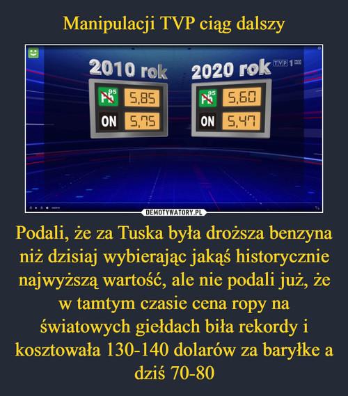 Manipulacji TVP ciąg dalszy Podali, że za Tuska była droższa benzyna niż dzisiaj wybierając jakąś historycznie najwyższą wartość, ale nie podali już, że w tamtym czasie cena ropy na światowych giełdach biła rekordy i kosztowała 130-140 dolarów za baryłke a dziś 70-80