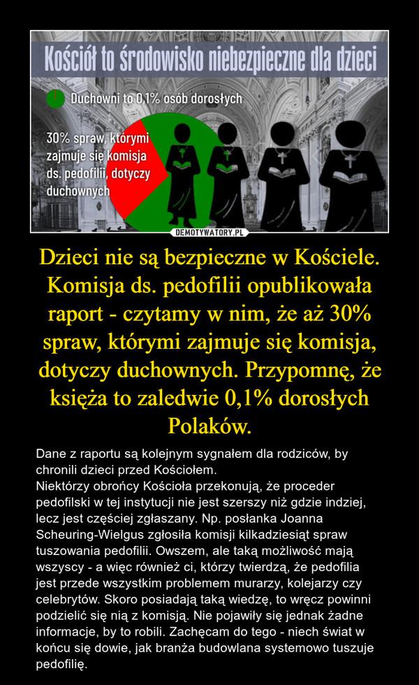 Dzieci nie są bezpieczne w Kościele. Komisja ds. pedofilii opublikowała raport - czytamy w nim, że aż 30% spraw, którymi zajmuje się komisja, dotyczy duchownych. Przypomnę, że księża to zaledwie 0,1% dorosłych Polaków. – Dane z raportu są kolejnym sygnałem dla rodziców, by chronili dzieci przed Kościołem.Niektórzy obrońcy Kościoła przekonują, że proceder pedofilski w tej instytucji nie jest szerszy niż gdzie indziej, lecz jest częściej zgłaszany. Np. posłanka Joanna Scheuring-Wielgus zgłosiła komisji kilkadziesiąt spraw tuszowania pedofilii. Owszem, ale taką możliwość mają wszyscy - a więc również ci, którzy twierdzą, że pedofilia jest przede wszystkim problemem murarzy, kolejarzy czy celebrytów. Skoro posiadają taką wiedzę, to wręcz powinni podzielić się nią z komisją. Nie pojawiły się jednak żadne informacje, by to robili. Zachęcam do tego - niech świat w końcu się dowie, jak branża budowlana systemowo tuszuje pedofilię.