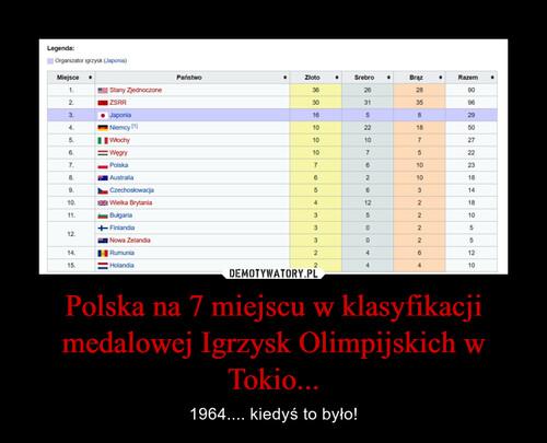 Polska na 7 miejscu w klasyfikacji medalowej Igrzysk Olimpijskich w Tokio...