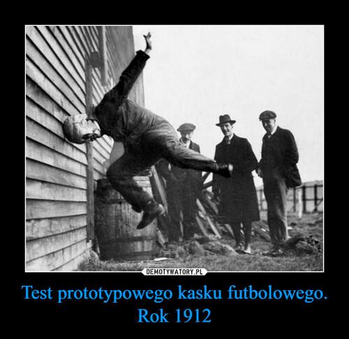 Test prototypowego kasku futbolowego. Rok 1912