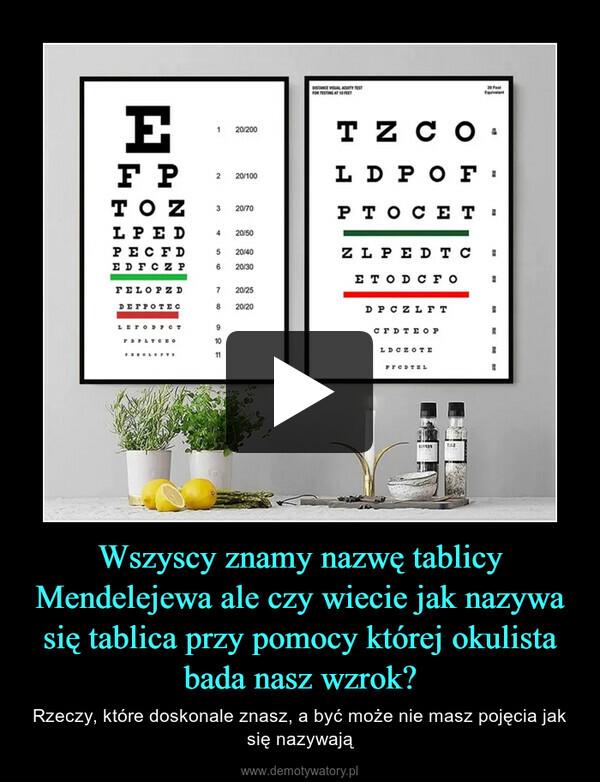 Wszyscy znamy nazwę tablicy Mendelejewa ale czy wiecie jak nazywa się tablica przy pomocy której okulista bada nasz wzrok? – Rzeczy, które doskonale znasz, a być może nie masz pojęcia jak się nazywają