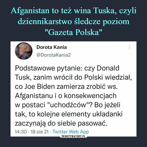 """Afganistan to też wina Tuska, czyli dziennikarstwo śledcze poziom """"Gazeta Polska"""""""