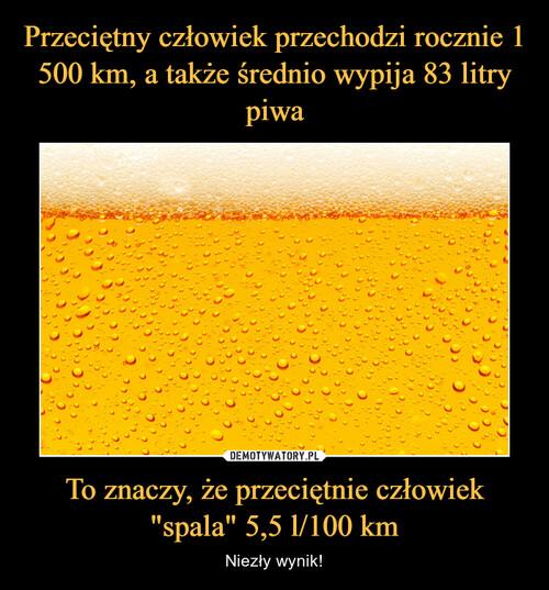 """Przeciętny człowiek przechodzi rocznie 1 500 km, a także średnio wypija 83 litry piwa To znaczy, że przeciętnie człowiek """"spala"""" 5,5 l/100 km"""
