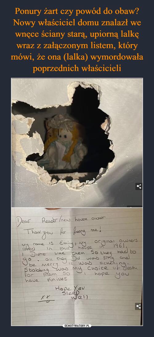 Ponury żart czy powód do obaw? Nowy właściciel domu znalazł we wnęce ściany starą, upiorną lalkę wraz z załączonym listem, który mówi, że ona (lalka) wymordowała poprzednich właścicieli