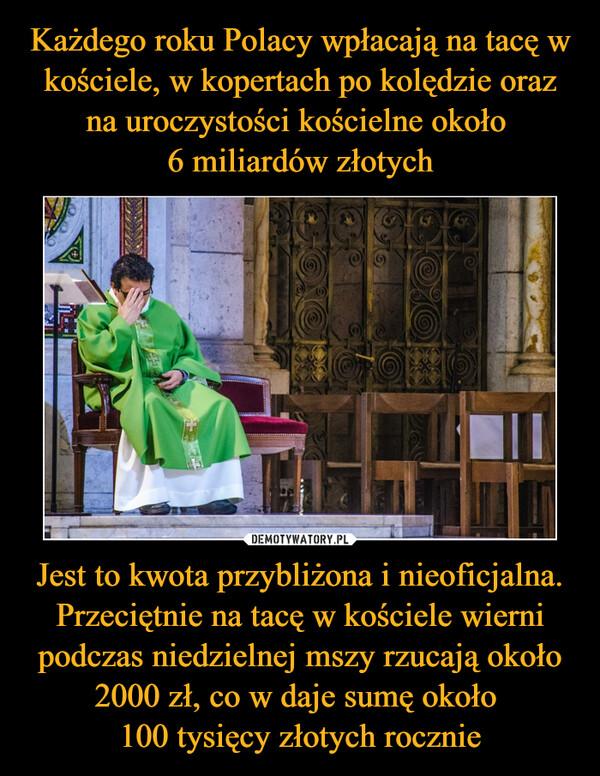 Jest to kwota przybliżona i nieoficjalna. Przeciętnie na tacę w kościele wierni podczas niedzielnej mszy rzucają około 2000 zł, co w daje sumę około 100 tysięcy złotych rocznie –