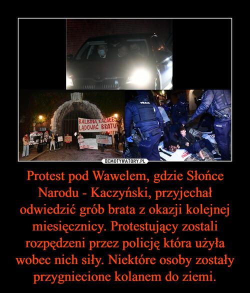 Protest pod Wawelem, gdzie Słońce Narodu - Kaczyński, przyjechał odwiedzić grób brata z okazji kolejnej miesięcznicy. Protestujący zostali rozpędzeni przez policję która użyła wobec nich siły. Niektóre osoby zostały przygniecione kolanem do ziemi.