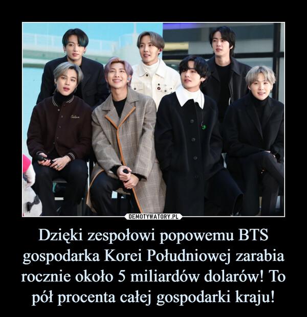 Dzięki zespołowi popowemu BTS gospodarka Korei Południowej zarabia rocznie około 5 miliardów dolarów! To pół procenta całej gospodarki kraju! –