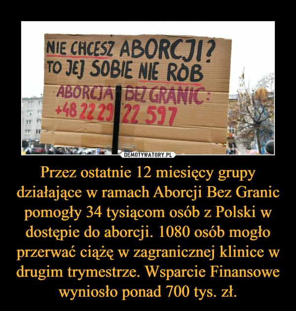 Przez ostatnie 12 miesięcy grupy działające w ramach Aborcji Bez Granic pomogły 34 tysiącom osób z Polski w dostępie do aborcji. 1080 osób mogło przerwać ciążę w zagranicznej klinice w drugim trymestrze. Wsparcie Finansowe wyniosło ponad 700 tys. zł. –